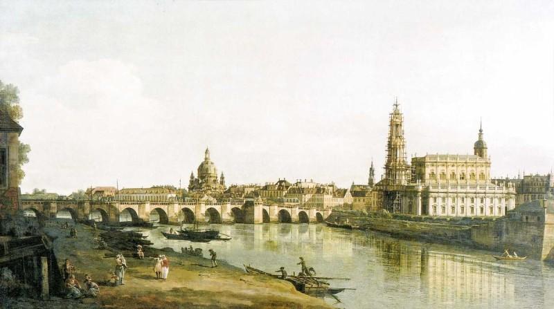 Вид Дрездена с мостом Августа с правого берега Эльбы, Бернардо Беллотто, 1748 год