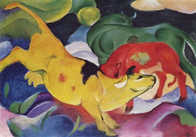 """Франц Марк """"Жёлто-красно-зелёные коровы"""", 1912"""