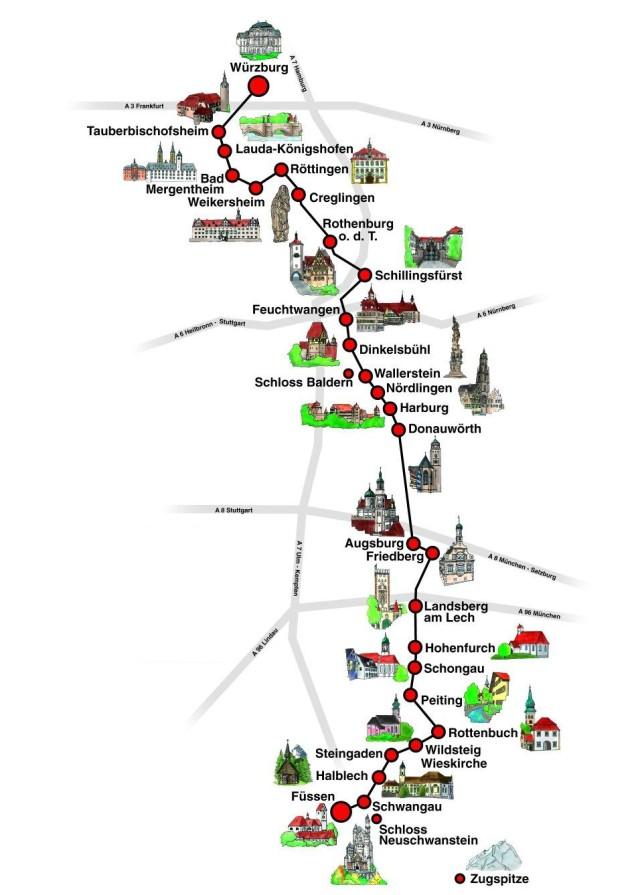 Карта Романтической дороги