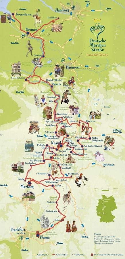 Карта маршрута Немецкая дорога сказок
