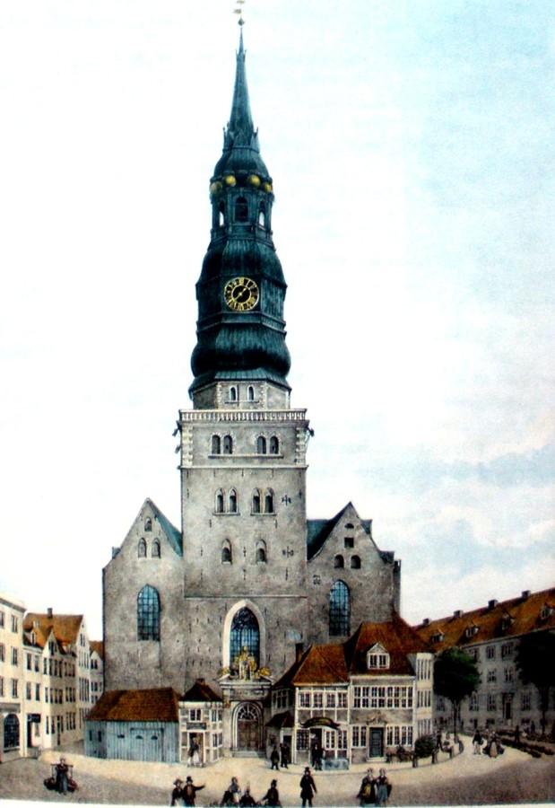 1835 год, церковь святого Николая (Ehemalige Hauptkirche St. Nikolai)