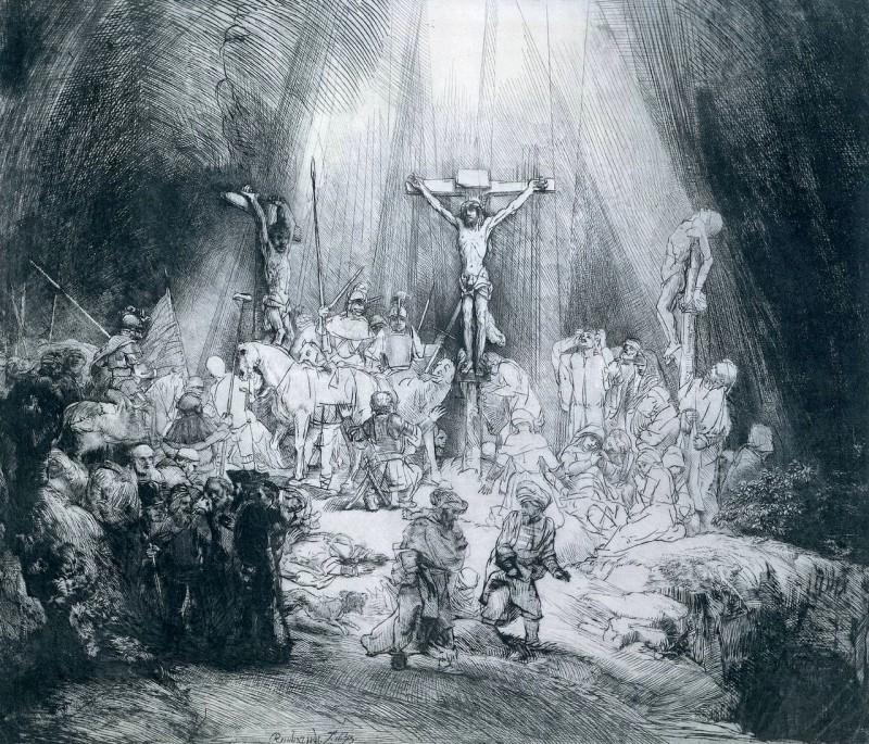 """Рембрандт """"Три креста"""", травление, 1653 г."""