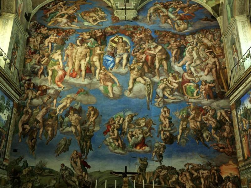 Фреска «Страшный суд»  на алтарной стене, Микеланджело