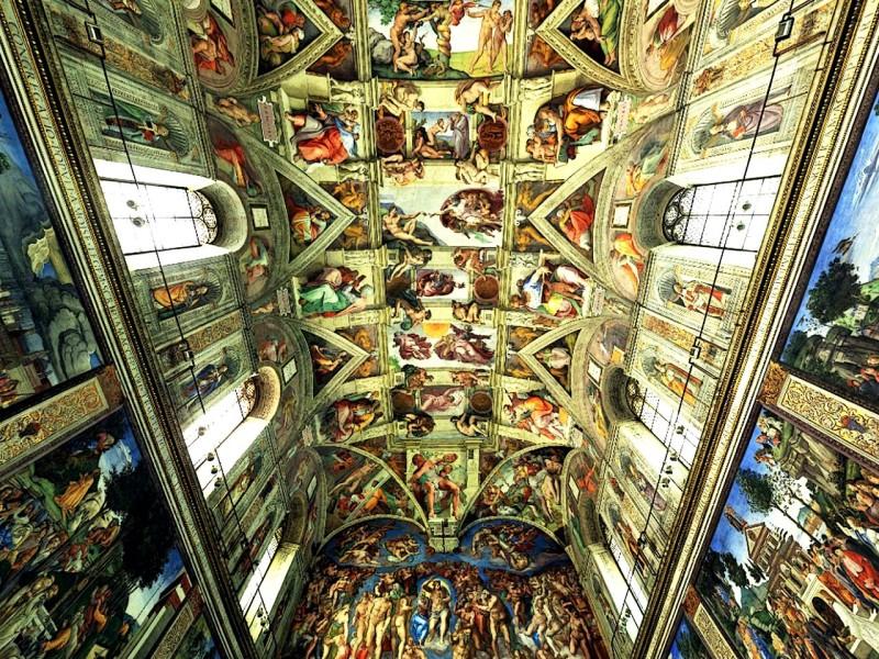 Потолок Сикстинской капеллы, работа  Микеланджело