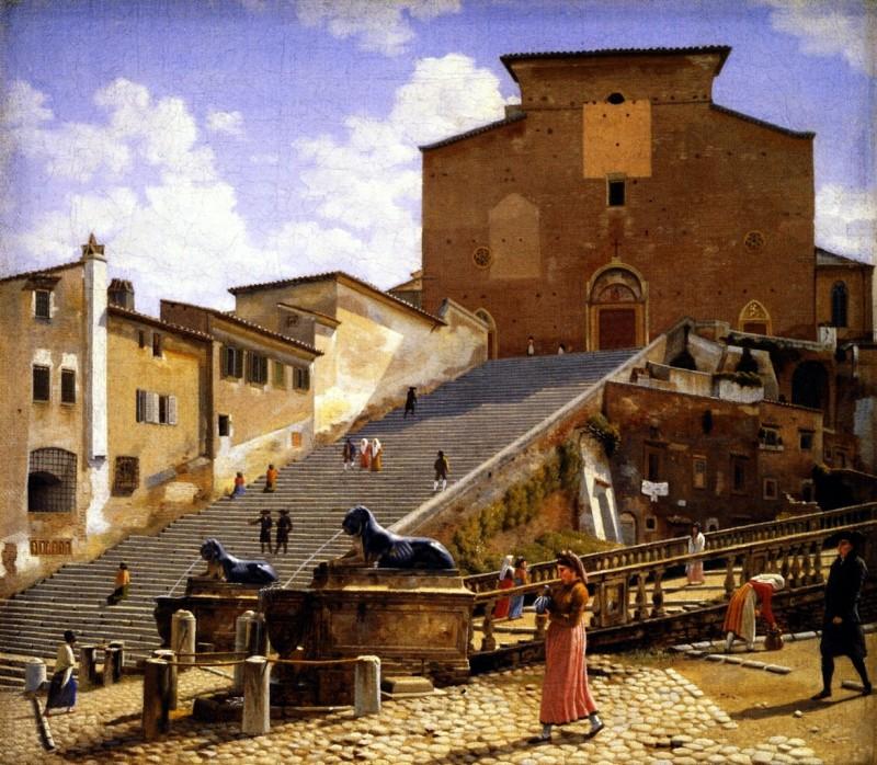 """""""Мраморные ступеньки, ведущие к  Санта-Мария-ин-Арачели в Риме"""", Christoffer Wilhelm 1813-1816 гг."""