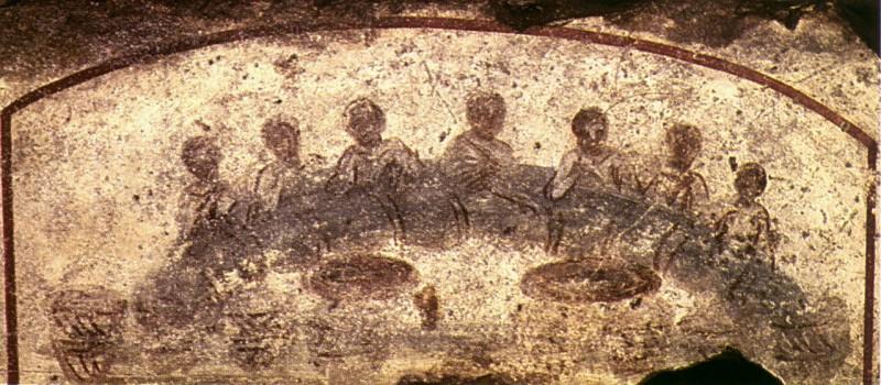Агапа — «Трапеза Любви», которую христиане устраивали в катакомбах в память о евангельской Тайной вечере, где совершали таинство евхаристии