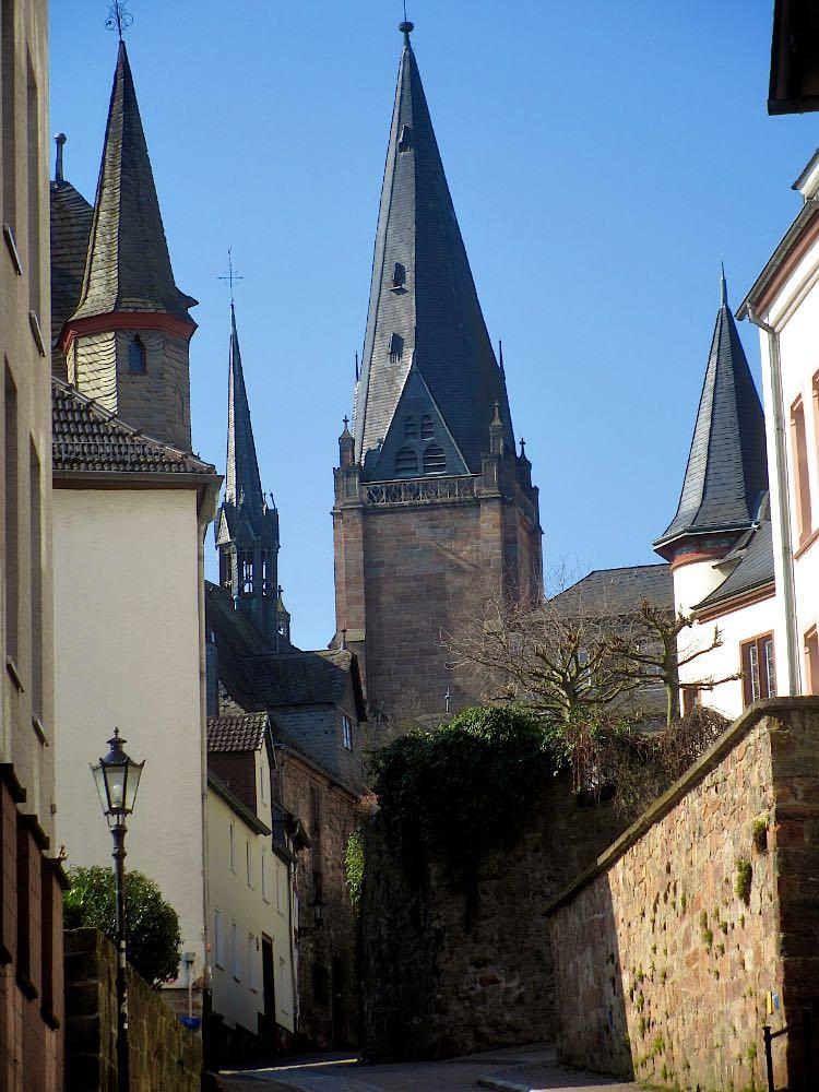 Вид на церковь Пречистой Девы Марии с дороги к замку