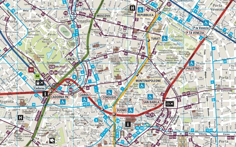 Скачать схему транспорта Милана