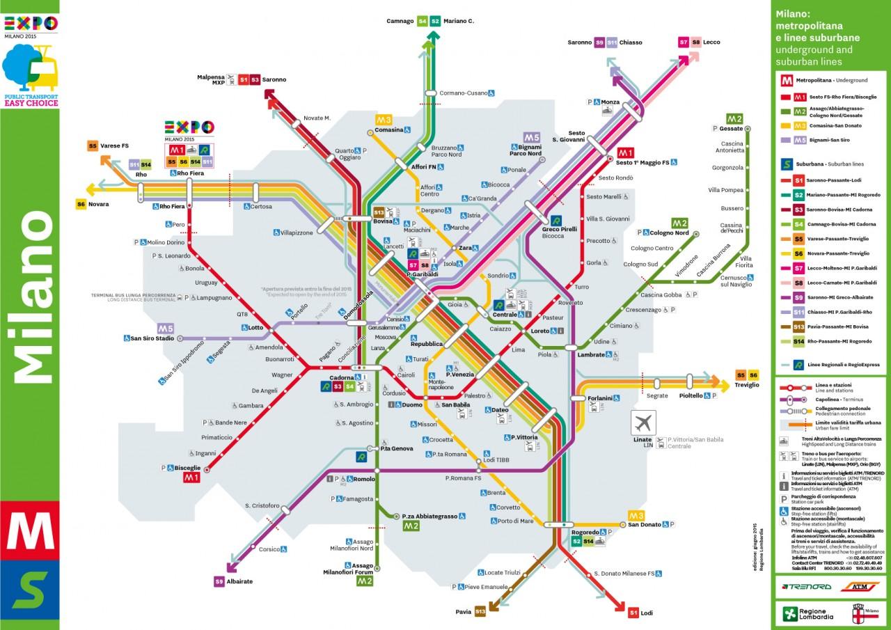 Схема метро и пригородных поездов Милана