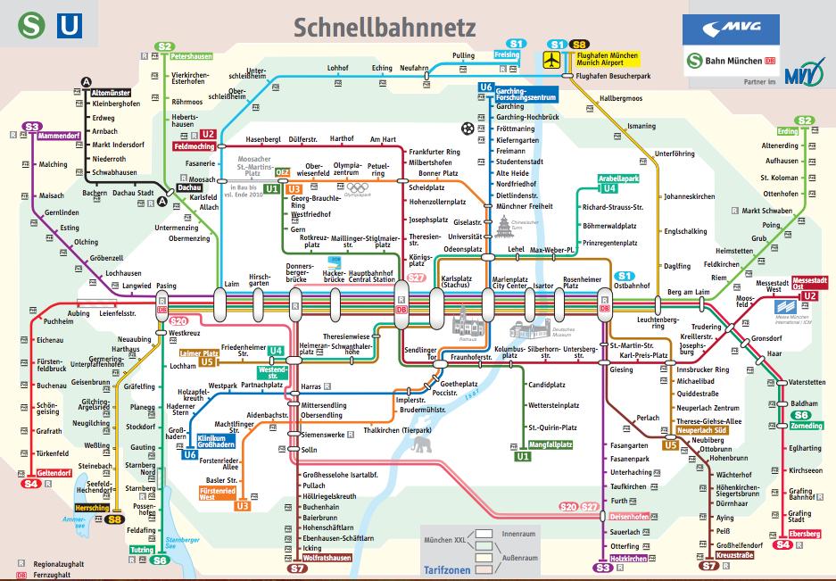 Схема метро и городской электрички в Мюнхене