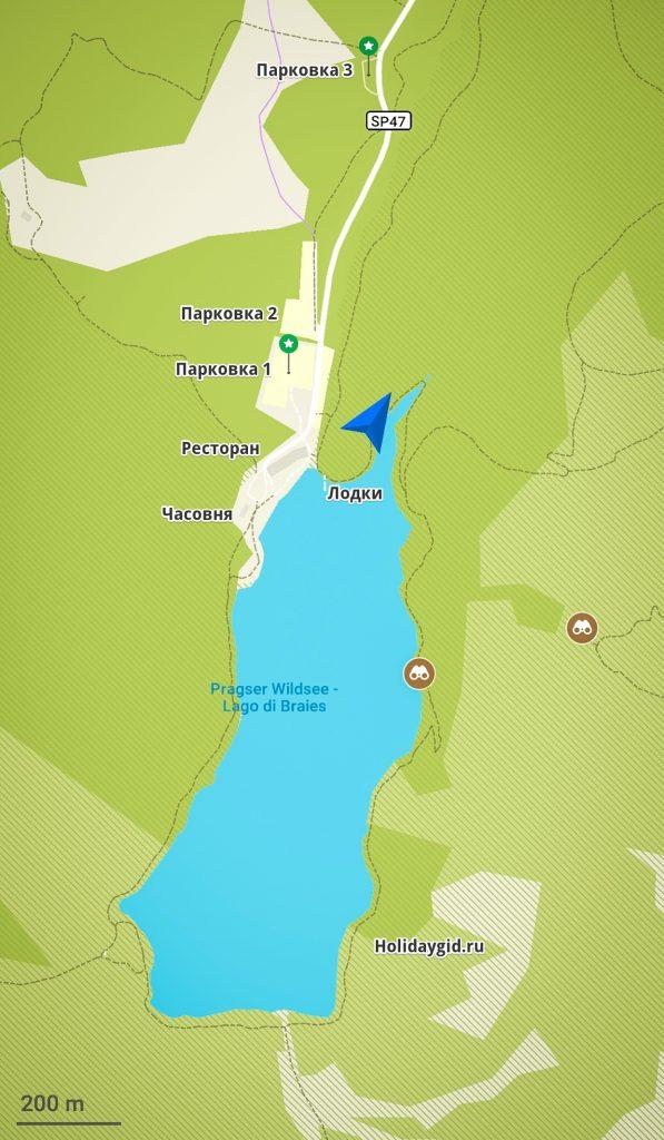 План прогулки по озеру Lago di Braies